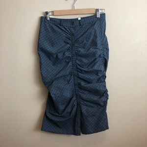 FREE PEOPLE Plaid Bottons Ruch Long Pencil Skirt